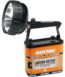 Rayovac 6-Volt Krypton Steel Beam Lantern with Swivel Head and General Purpose Battery, 301K